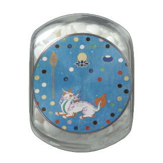 Chinese Dragon Colorful Dots Vintage Watercolor Glass Jars