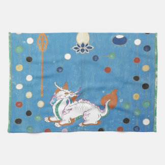 Chinese Dragon Colorful Dots Vintage Watercolor Hand Towel