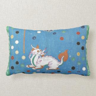Chinese Dragon Colorful Dots Vintage Watercolor Lumbar Pillow