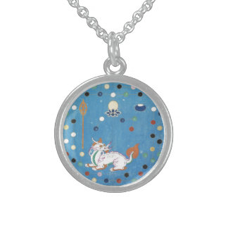 Chinese Dragon Colorful Dots Vintage Watercolor Sterling Silver Necklace