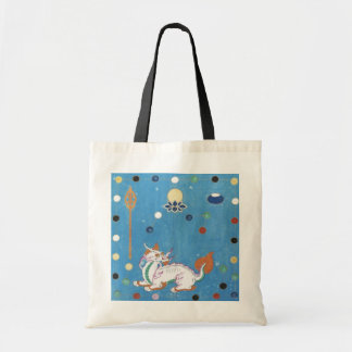 Chinese Dragon Colorful Dots Vintage Watercolor Tote Bag