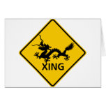 Chinese Dragon Crossing Highway Sign Card