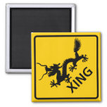 Chinese Dragon Crossing Highway Sign Magnet
