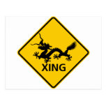 Chinese Dragon Crossing Highway Sign Post Card