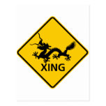 Chinese Dragon Crossing Highway Sign Post Cards