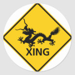 Chinese Dragon Crossing Highway Sign Round Stickers