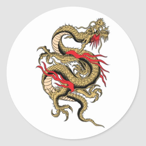 Chinese Dragon customizable designs Round Stickers