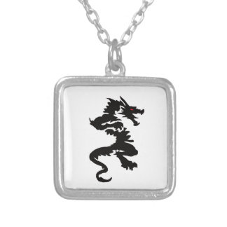 Chinese dragon design jewelry set square pendant necklace