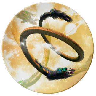 Chinese dragon dinner plate