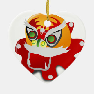 chinese dragon Double-Sided heart ceramic christmas ornament