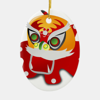 chinese dragon Double-Sided oval ceramic christmas ornament