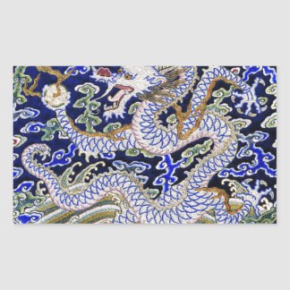 Chinese Dragon Embroidery Rectangular Sticker