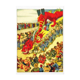 Chinese Dragon Festival Vintage Art Canvas Replica