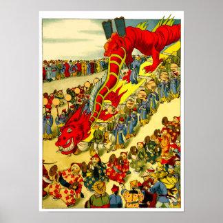 Chinese Dragon Festival Vintage Art Poster