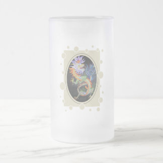 Chinese Dragon Frosted Glass Beer Mug