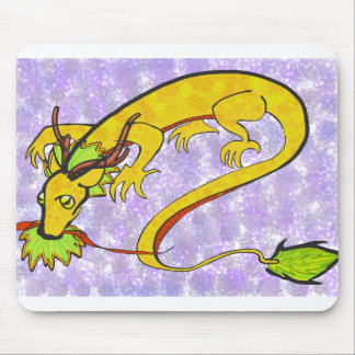 chinese dragon, gold and purple mouse pad
