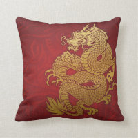 Chinese Dragon Gold and Red Throw Pillow
