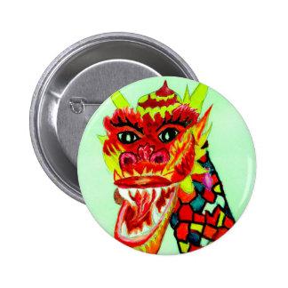 Chinese Dragon Head Pinback Button
