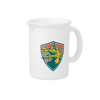 Chinese Dragon Head Shield Retro Beverage Pitcher