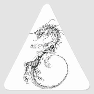 Chinese Dragon Illustration Triangle Sticker