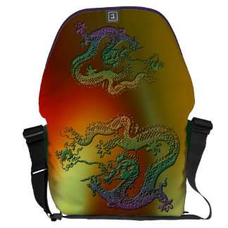 Chinese Dragon in Secondary Colors Courier Bags