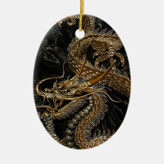 Chinese Dragon in Textured Brown Ceramic Ornament
