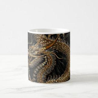 Chinese Dragon in Textured Brown Coffee Mug