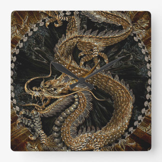 Chinese Dragon in Textured Brown Square Wall Clock