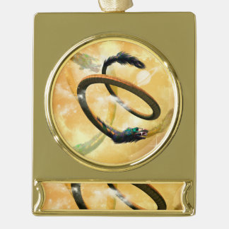 Chinese dragon in the universe gold plated banner ornament