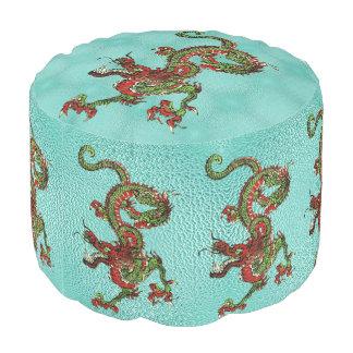 Chinese Dragon Round Pouf