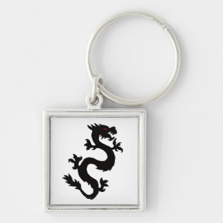 Chinese Dragon matching jewelry set Silver-Colored Square Keychain