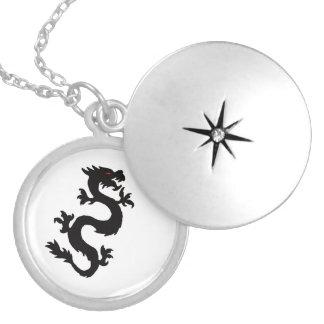 Chinese Dragon matching jewelry set Round Locket Necklace