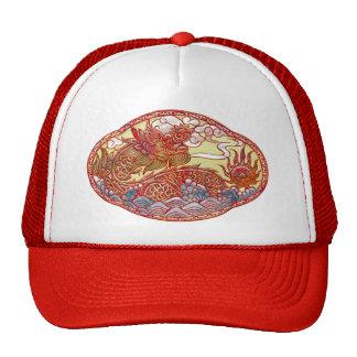 Chinese Dragon Medallion Trucker Hats