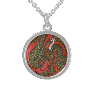 Chinese Dragon on Red Round Pendant Necklace