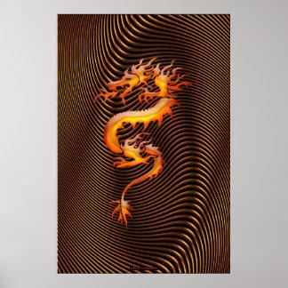 Chinese Dragon Optical Illusion Wall Art II