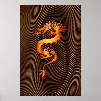 Chinese Dragon Optical Illusion Wall Art II Print