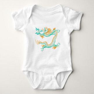 Chinese Dragon (orange aqua) Baby Bodysuit