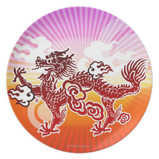 Chinese Dragon Dinner Plates