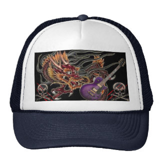 Chinese Dragon Purple Guitar Skull & Crossbone Hat
