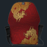 "Chinese Dragon Red Gold Messenger Bag<br><div class=""desc"">Gold Chinese Dragon design</div>"