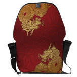 Chinese Dragon Red Gold Messenger Bag<br><div class='desc'>Gold Chinese Dragon design</div>