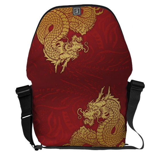 Chinese Dragon Red Gold Messenger Bag
