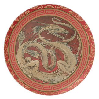 Chinese Dragon Red Melamine Plate