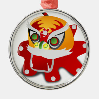 chinese dragon round metal christmas ornament