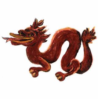 Chinese Dragon Sculpture Brooch Pin Photo Sculpture Button
