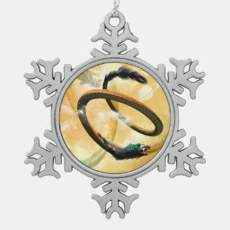 Chinese dragon snowflake pewter christmas ornament