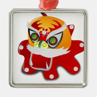 chinese dragon square metal christmas ornament