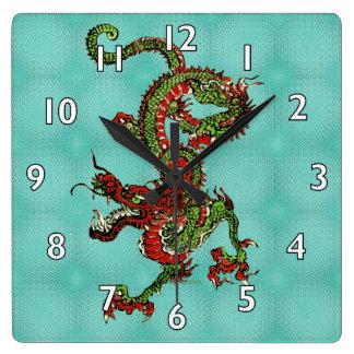 Chinese Dragon Square Wall Clock