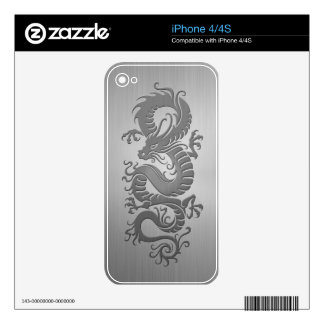 Chinese Dragon, Stainless Steel Effect Skins For The iPhone 4