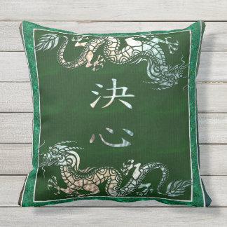 Chinese Dragon Tribal Motif Outdoor Pillow